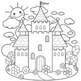 Fairy tale castle and flowers. Coloring page. Beautiful fairy tale castle. Black and white coloring page vector illustration Royalty Free Stock Image