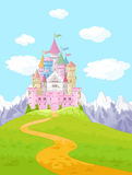 Fairy Tale Castle Landscape. Fairy Tale magic Princess Castle Landscape Stock Photo