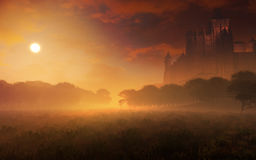Fairy Tale Castle In The Sunset Royalty Free Stock Photos