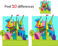 Fairy tale castle , vector and cartoon. Spot the differences. Two images with ten changes between Fairy tale castle  vector and cartoon illustrations Royalty Free Stock Photography