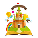 Fairy Tale castle. Vector Illustration with Book, dragon, sun, clouds, and Rainbow Royalty Free Stock Image
