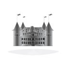 Fairy-tale castle on white background. Royalty Free Stock Images