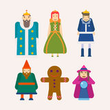 Fairy tale characters cartoon flat vector isolated icons set. Fairy tale popular cartoon characters set. of magic fairytale king, queen or princess and prince Stock Images
