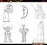 Fairy tale characters coloring page Stock Photos