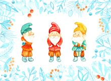 Gnomes. Christmas card with gnomes Stock Photography