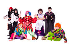 Fairy-tale characters. seven characters. Seven fantastic heroes, people in costumes for the holiday Stock Images