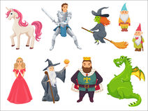 Fairy tale characters. Fairy tale. Unicorn, princess, witch flying on broom, king in crown, dragon, knight paladin with sword, gnome, wizard with stick Stock Images
