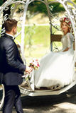 Fairy-tale cinderella wedding carriage magical wedding couple br Stock Photos