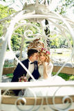Fairy-tale cinderella wedding carriage magical wedding couple br Royalty Free Stock Photos