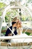 Fairy-tale cinderella wedding carriage magical wedding couple br Royalty Free Stock Photos