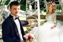 Fairy-tale cinderella wedding carriage magical wedding couple br Stock Photo