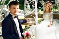 Fairy-tale cinderella wedding carriage magical wedding couple br Stock Photo