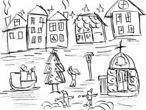 Fairy tale city hand drawing sketch Royalty Free Stock Images