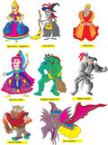 Fairy tale collection. A collection of fairy tale characters. Beautifull princess ,ugly witch,wise king,magical fairy, fiendish monster, brave knight,bulky dwarf Royalty Free Stock Photo