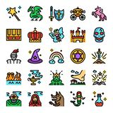 Fairy tale color line pixel perfect icons. Vector editable stroke vector illustration
