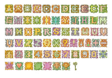 Fairy-tale colorful alphabet painting collection. Isolated on white Stock Photos