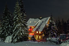 Fairy-tale comfy house. Small fairy-tale comfy house in winter snowy mountains near Dragobrat famous ski resort, Carpathians, Ukraine Royalty Free Stock Photos