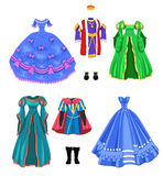 Fairy tale costumes. Vector collection of fairytale costumes isolated on a white background Royalty Free Stock Image