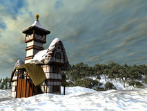 Fairy-tale cottage. A fairy-tale cottage is by a winter day on a background cloudy sky Stock Photos