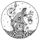 Fairy tale cottage painted pen Stock Image