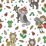 Fairy tale creatures. Cute woodland doodles. Hand-drawn illustration. Vector art