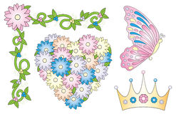 Fairy Tale Design Element. Cute fairy tale princess elements for invitations, scrapbooking, or whatever Stock Images