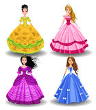 Fairy tale doll princesses. Vector set of four fairy tale doll princesses  on a white background Stock Images