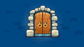 Fairy-tale door with golden handles entrance. Vector illustration. royalty free illustration
