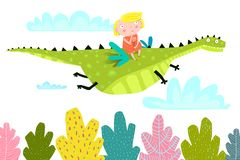 Fairy Tale Dragon Fly with Little Girl stock illustration