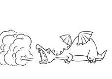 Fairy tale dragon smoke medieval cartoon illustration coloring page stock illustration