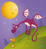 Fairy tale on dragons. Two friends to a dragon on a lawn under the moon Royalty Free Stock Images