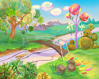 Fairy Tale Dreamland. Digital Painting, Illustration of a Exotic Dreamland. Fantastic Cartoon Style Character, Fairy Tale Story Background, Card Design Royalty Free Stock Image