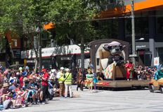 Fairy tale and fantasy floats ` little red riding hood ` perform in the 2018 Credit Union Christmas Pageant parade. ADELAIDE, SOUTH AUSTRALIA. - On November 10 stock photos
