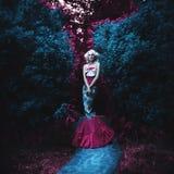 Fairy tale fashion. Mermaid. Amazing blonde woman in spirit garden. fairy tale fashion. grain added Royalty Free Stock Photography