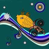 A fairy tale fish with a crown in the waves royalty free illustration