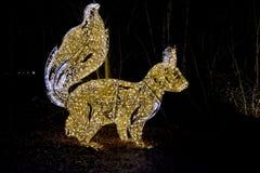 Fairy tale forest with illuminated animals stock photo