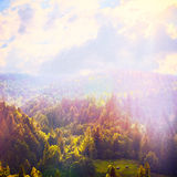 Fairy Tale Forest in Retro Style. Mountain Landscape, Nature background Stock Photo