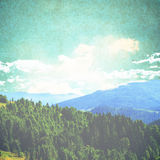 Fairy Tale Forest in Retro Style. Mountain Landscape, Nature background Stock Photos