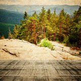 Fairy Tale Forest in Retro Style. Paper Vintage Textured. Mountain Landscape, Stock Photography