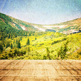Fairy Tale Forest in Retro Style. Paper Vintage Textured. Mountain Landscape Royalty Free Stock Photos