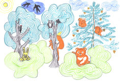Fairy tale forest with wild animals. Fairy tale forest with different wild animals, kids drawing Stock Images