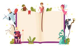 Free Fairy Tale Frame. Decorative Background With Fantasy Characters Book In Cartoon Style Vector Template Royalty Free Stock Photography - 171317917