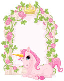 Fairy tale frame with unicorn. Romantic floral fairy tale frame with unicorn Royalty Free Stock Photo