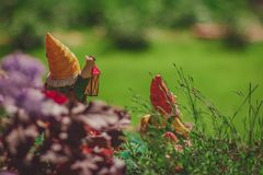 Fairy tale garden gnomes. With old lamp, dwarf looks afar royalty free stock photo