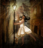 Fairy tale girl. Fairy tale picture with girl and rabbit in wonderland Royalty Free Stock Image