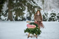 Fairy tale girl. Portrait a little girl in a deer dress with a painted face in the winter forest. Big brown antler royalty free stock image