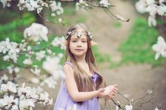 fairy tale girl. Portrait of mystic elf child. Cosplay character stock photography