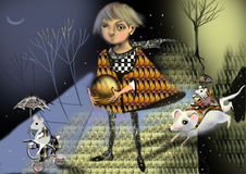 Fairy tale girl, prince on a path in a fairy tale forest. Mice riding mice around Stock Photo