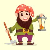 Fairy tale gnome with lamp. Dwarf. Elf. Vector illustration vector illustration