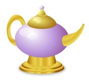 Fairy Tale Golden Magic Lamp Stock Images
